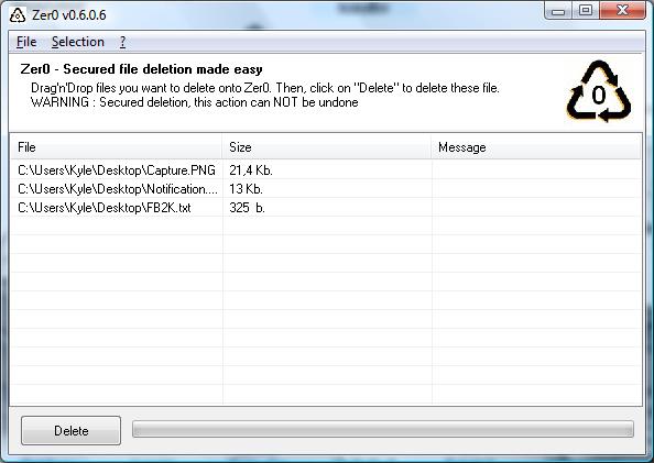 Zer0 0.5.0.5  - Διαγράψτε αρχεία χωρίς επιστροφή ποτέ! Zero_screen